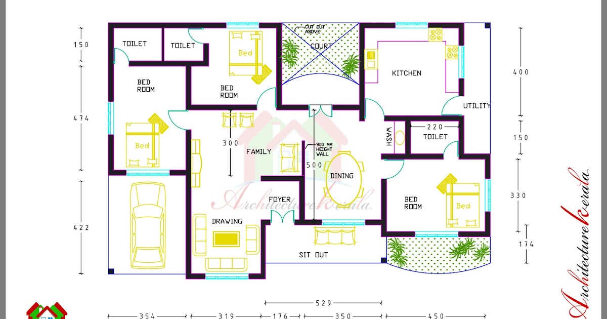 3 bed room house plan with room dimensions architecture for Home designs kerala architects