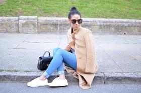 Live in Levi's, Le Tote, Levi's denim, vintage coat, thrifted coat, camel coat, long camel coat, Superga sneakers, Karen Walker Super Sunglasses, striped tee,