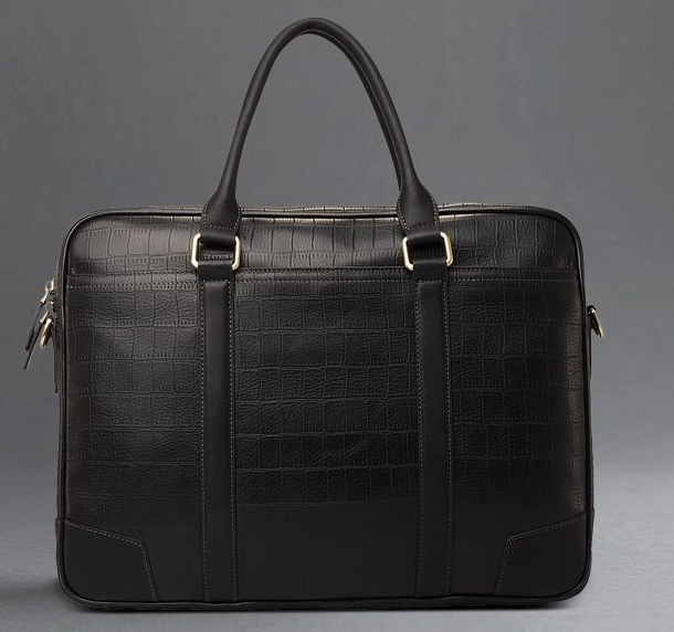 Classic Crocodile Leather Diagonal Cross-Section Black Bag
