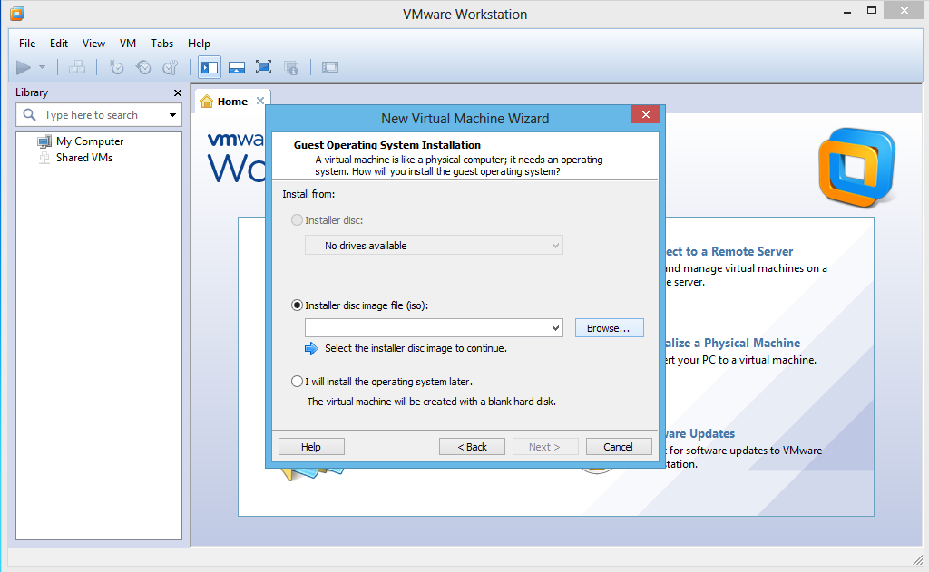 New Virtual Machine Wizard > pilih Isntaller disc file (ISO)