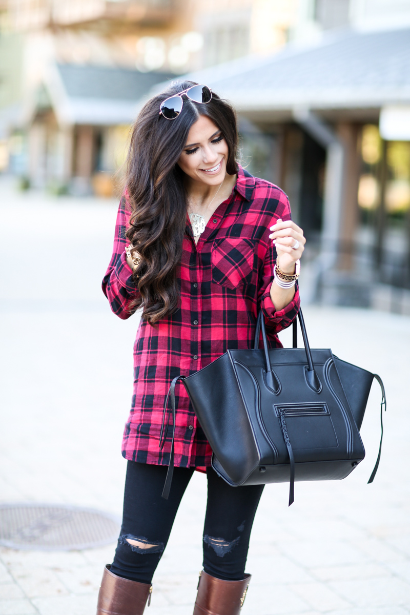 black celine phantom, fall outfit idea, casual fall outfit idea pinterest, michael kors watch with black face, tory burch riding boots, oversized plaid top outfit idea, outfit idea fall pinterest, david yurman stack bracelets, emily gemma, the sweetest thing