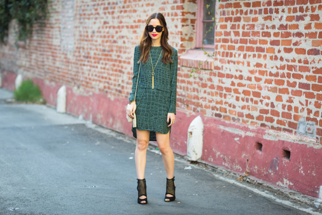 green snake print dress on M Loves M @marmar
