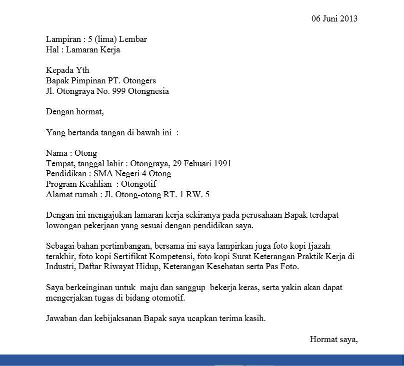 Contoh Surat Lamaran Kerja v.1