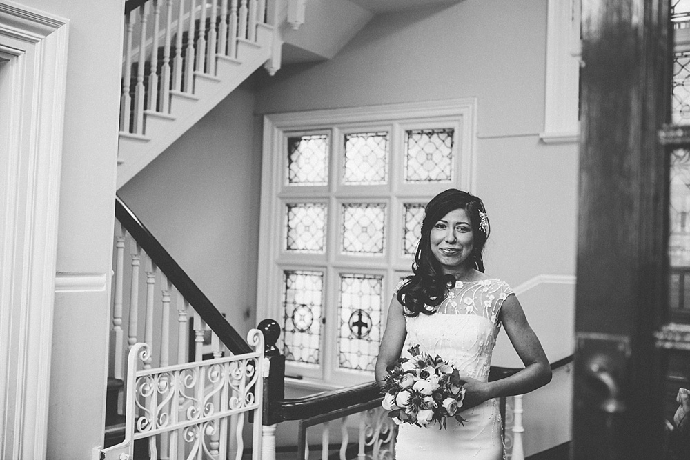 beautiful bride waiting to walk down the aisle at mayfair library central london