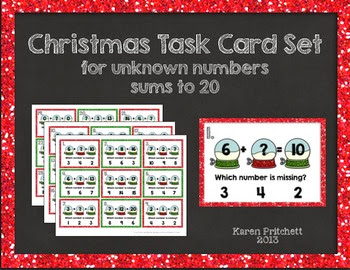 http://www.teacherspayteachers.com/Product/Christmas-Missing-AddendNumber-Task-Cards-Addition-Sums-to-20-993949
