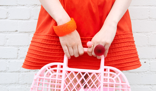 Serena Kuhl, pink plastic bag, barbie bag