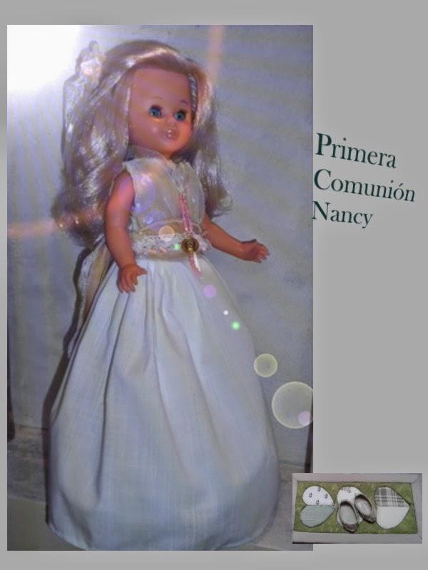 vestido de comunion replica para muñecas nancy