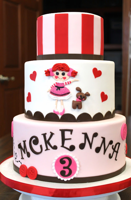 3 Tier Birthday Cake with Doll, Puppy, and Hearts