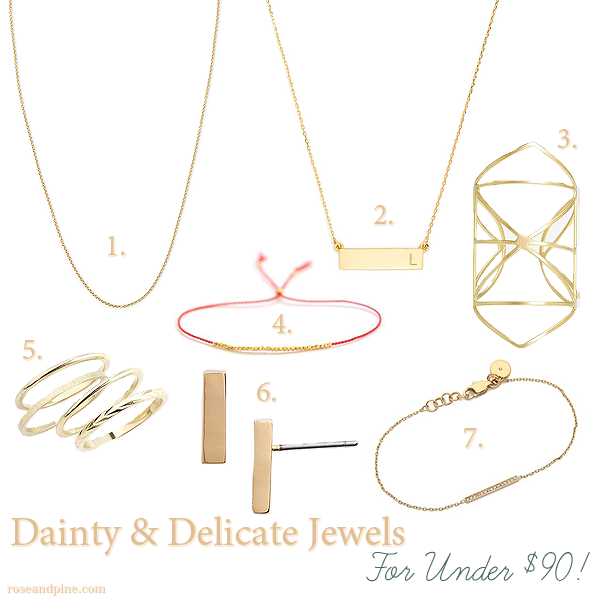 Dainty Delicate gold Jewelry jewels accessories necklaces bracelets rings Under 90 ninety dollars
