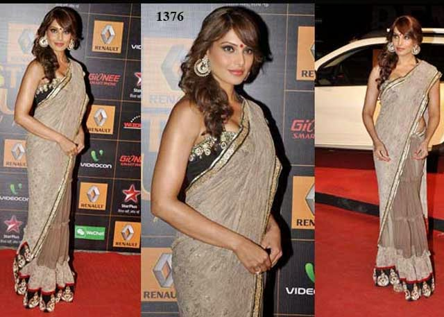1376 - Bollywood beauty Bipasha basu in half and half saree at 9th Renault Star Guild Awards 2014
