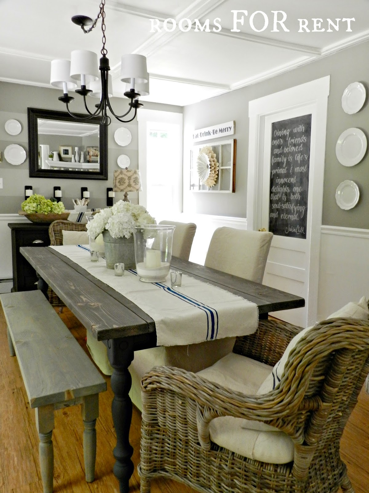 grey and white dining