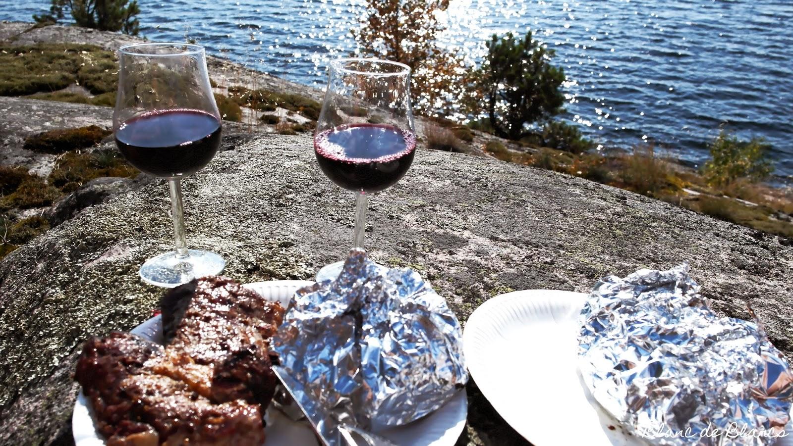 Grilliruokaa ja viiniä rantakalliolla - www.blancdeblancs.fi