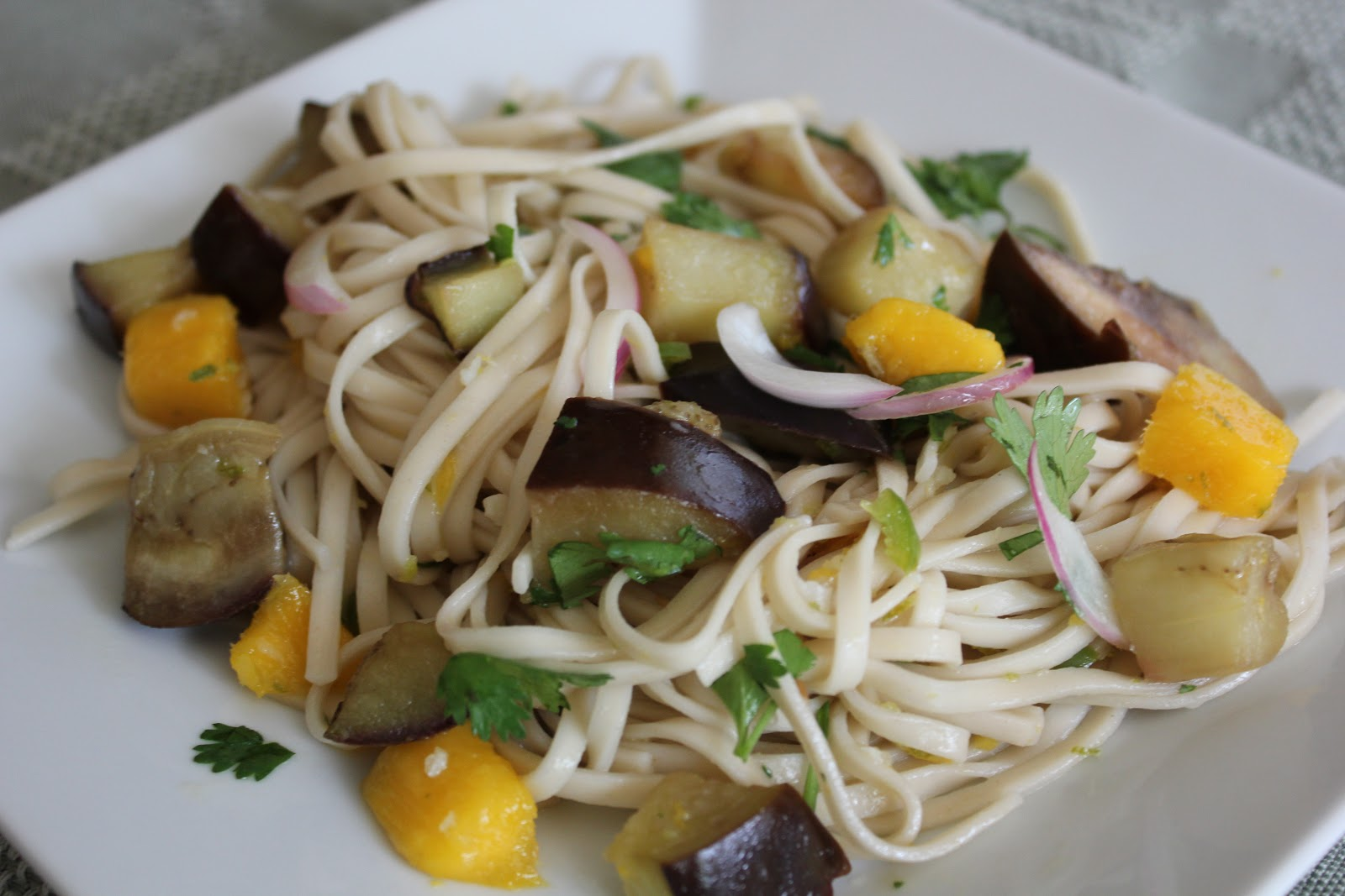 THE BUSY MOM CAFE: Ottolenghi's Soba Noodles with Eggplant and Mango