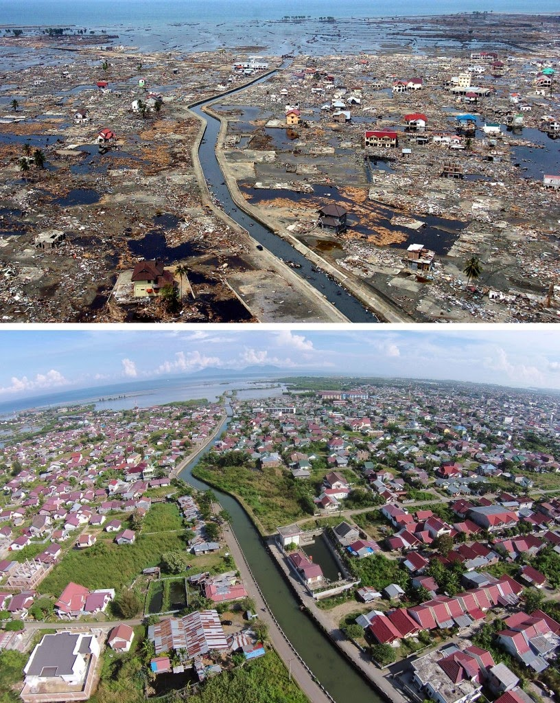 This combo shows a file photo (top) taken on January 5, 2005 of the devastated district of Banda Aceh in Aceh province located on Indonesia's Sumatra island in the aftermath of the massive on Dec. 26, 2004 tsunami trigerred by an earthquake and the same location photographed on Dec. 1, 2014 (bottom) showing new houses and rebuilt community. Indonesia will mark on Dec. 26, 2014 the 10th year anniversary of the deadly tsunami which killed more than 170,000 people in Aceh, and tens of thousands of others in other countries around the Indian Ocean. (AFP Photo/Choo Youn-Kong (top), Chaideer Mahyuddin (bottom))