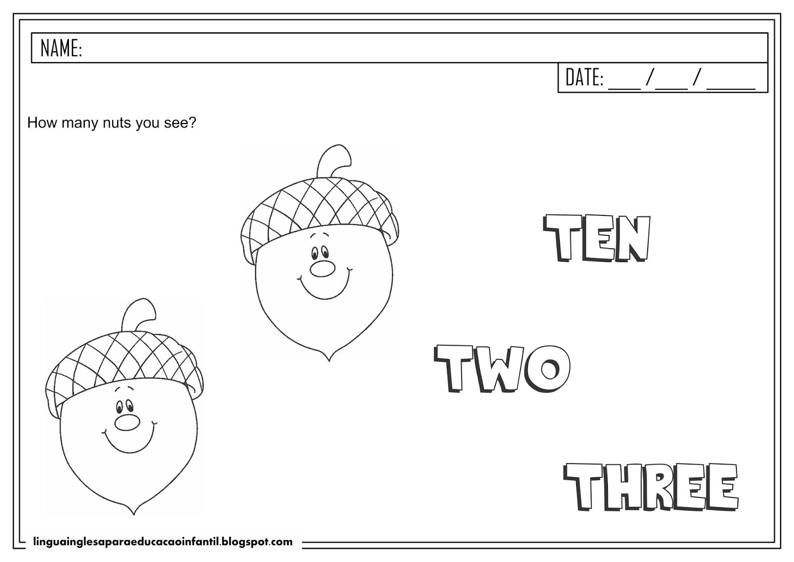 Atividade de inglês - Número 2 para educação infantil