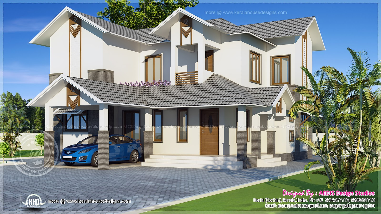 Modern sloping roof home exterior design kerala home for Roof exterior design