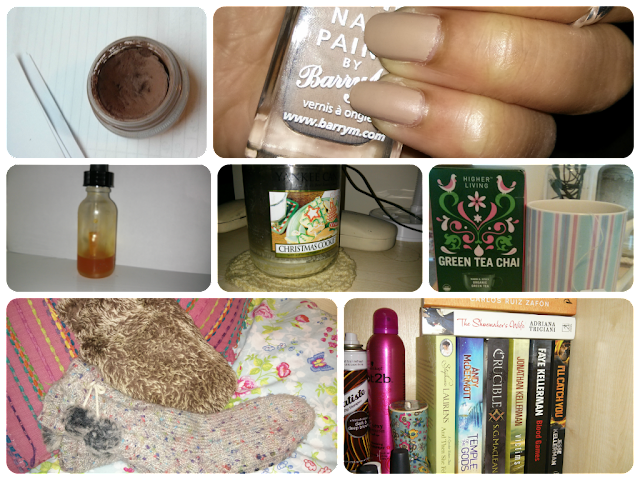 mac paintpot quite natural, barry m matte nail paint caramel, yankee candle christmas cookie, higher living green tea chai, hot water bottles, books, october favourites