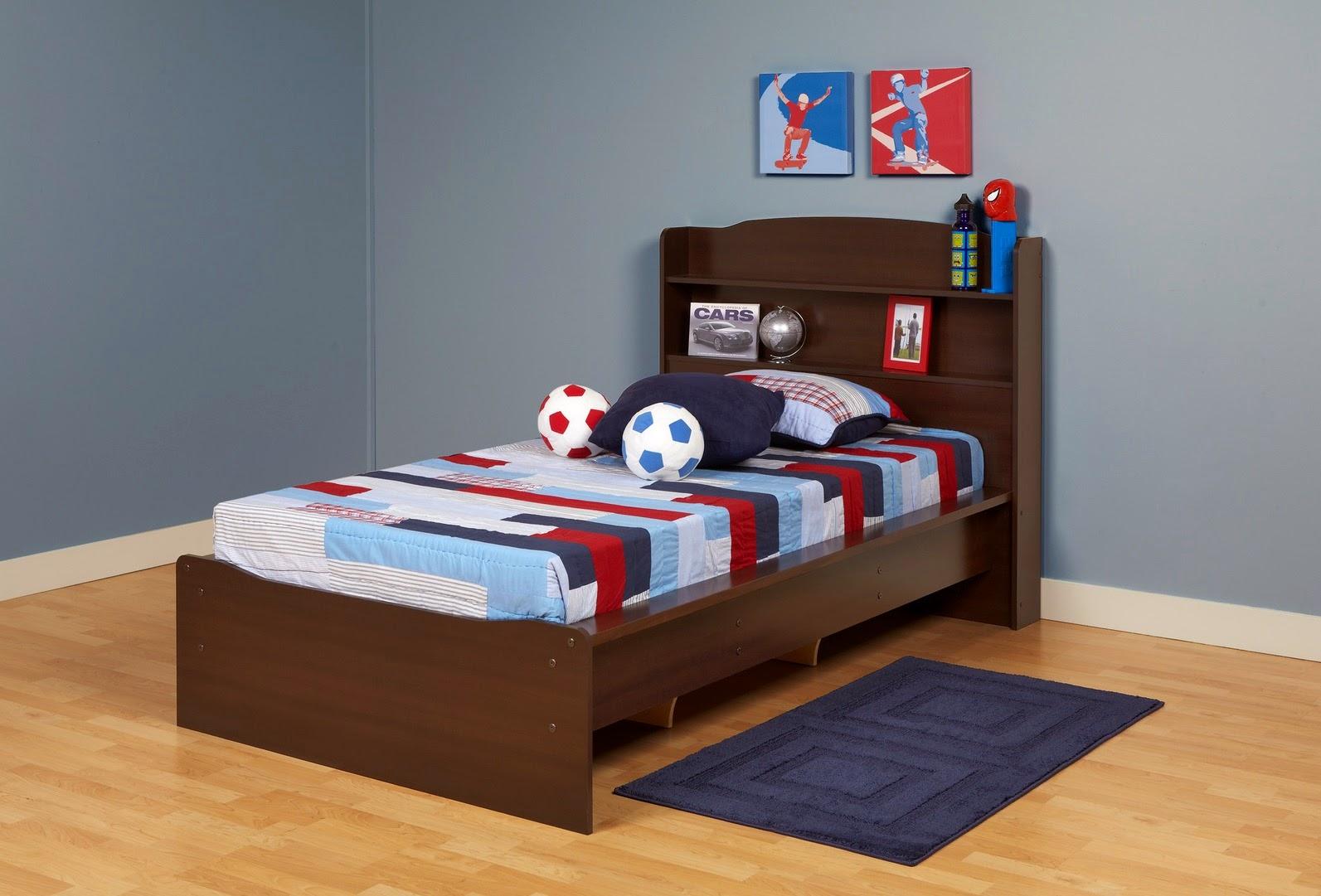 Twin Platform Bed with Storage Headboard