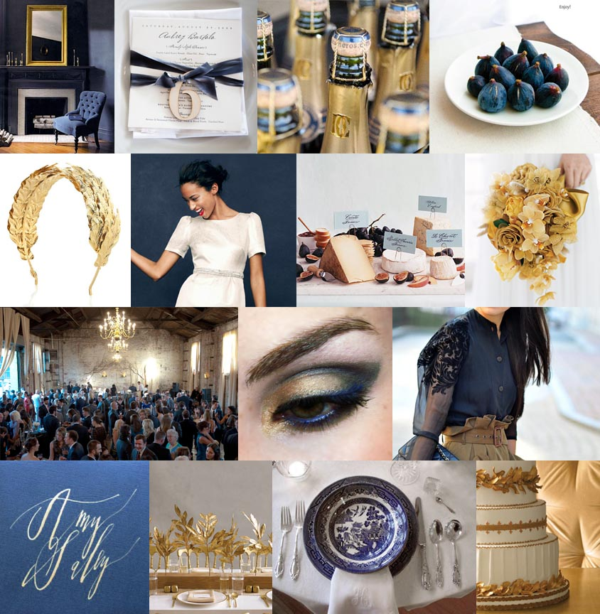 Navy Blue White and Gold Wedding