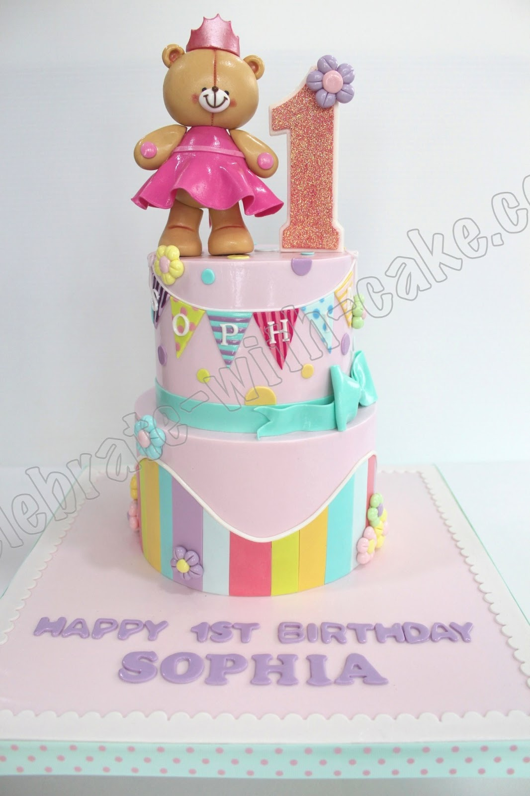 celebrate with cake 1st birthday baby bear tier cake