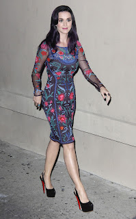 Katy Perry arriving at Jimmy Kimmel Live show in a floral dress