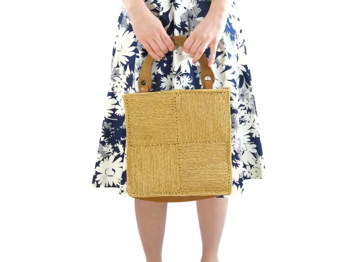 50s straw handbag