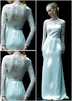 wedding dress of lace fabric