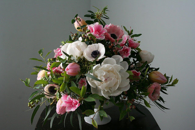 Peonies, anemone, french tulips in milk glass compote, Isha Foss Events