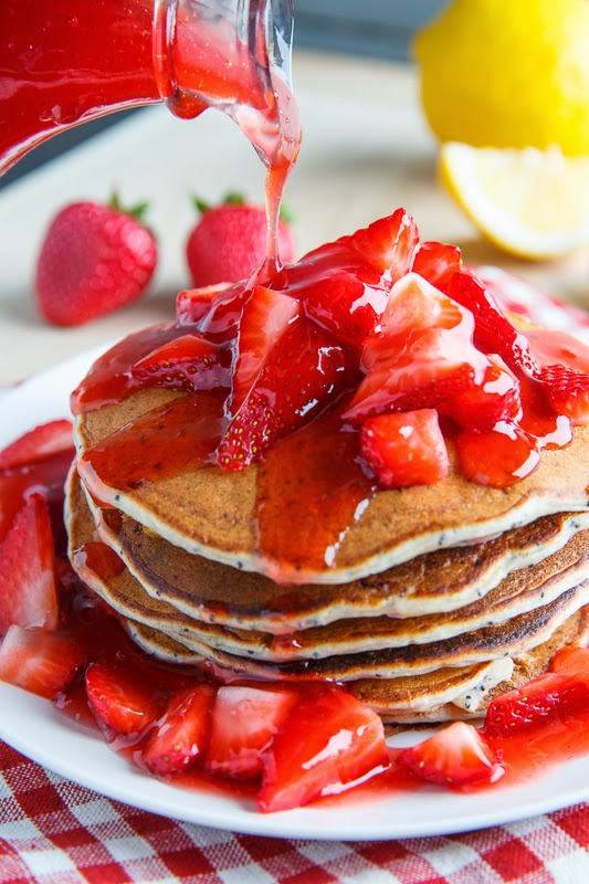 Strawberry Lemon Ricotta Poppy Seed Pancakes