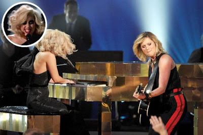 Lady Gaga and Jennifer Nettles from Sugarland performing at the Grammy Nominations