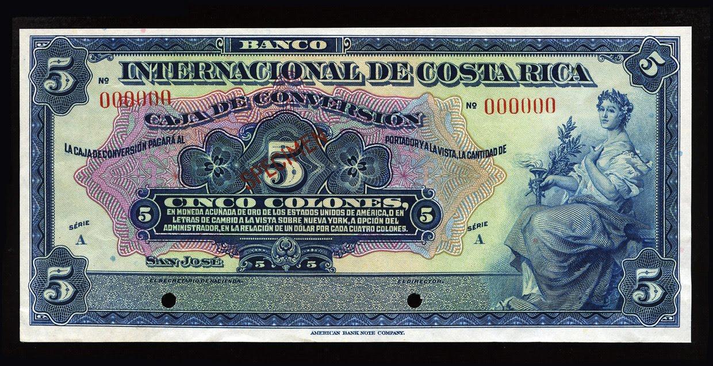 Costa rica 5 colones banknote 1924 banco internacional de for Banco internacional