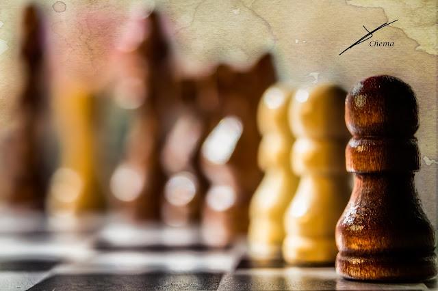 Detalle de un tablero de ajedrez y de algunas piezas en fotosmacro.blogspot.com