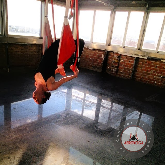 AERIAL YOGA POSE BY AEROYOGA INTERNATIONAL, YOGASWING AERIAL PILATES