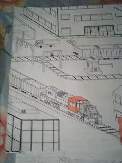 Ferrovia e trens de carga (desenho)