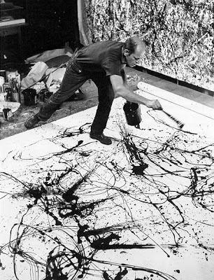 Jackson Pollock trabajando con dripping