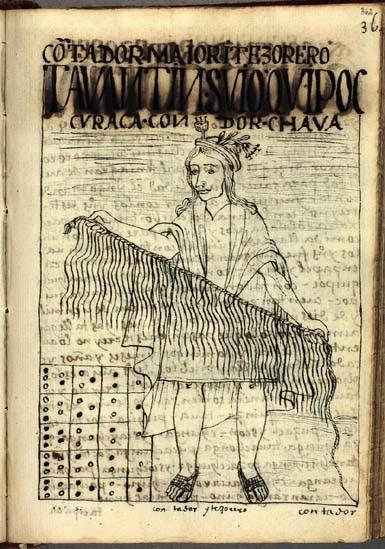 Quipucamayoc, dibujo de Felipe Guamán Poma de Ayala