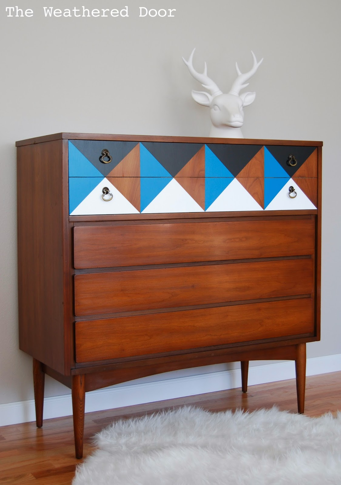 A geometric mid century dresser the weathered door for Painted mid century modern furniture