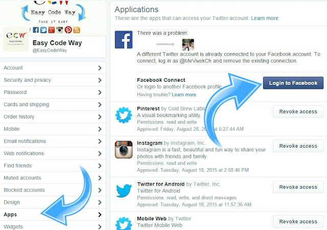 login to Facebook via twitter