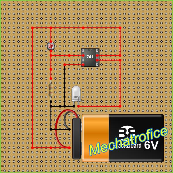 Dark Activated Op Amp Light Circuit