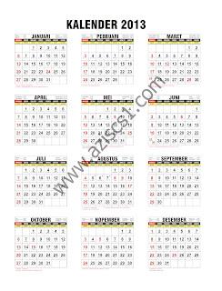 Template Kalender 2013 lengkap dengan Tanggal Arab dan Jawa