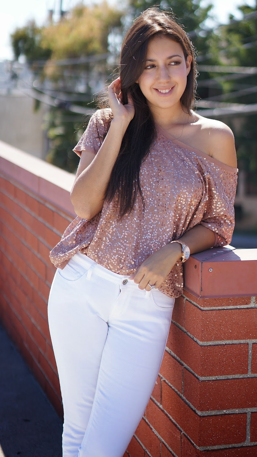 H&M, White Levis Jeans, Liz Claiborne Rose Gold Watch, Zara Pastel Colored Heels, Sequin off the shoulder top