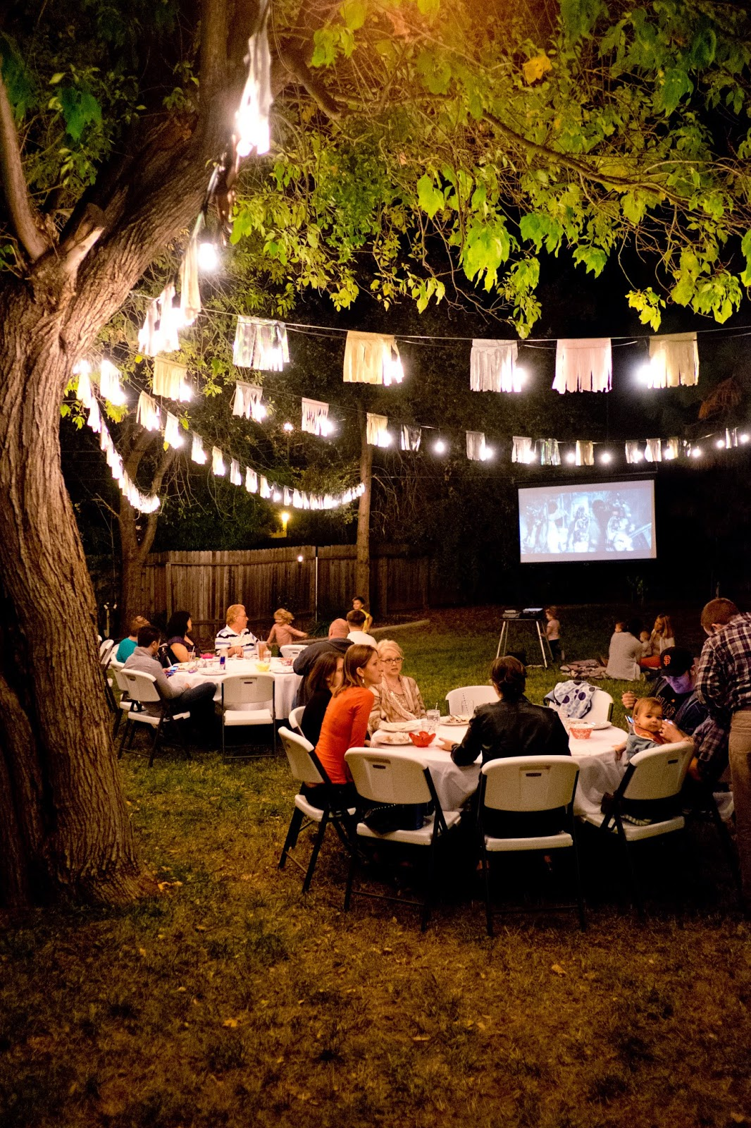 domestic fashionista fall backyard birthday party and movie night