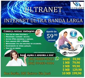 Só na ULTRA NET tem internet rápido e mais barata na cidade de Parnaíba.