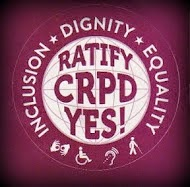 Advocacy logo for the CRPD - reading inclusion, dignity, equality ratify CRPD yes!