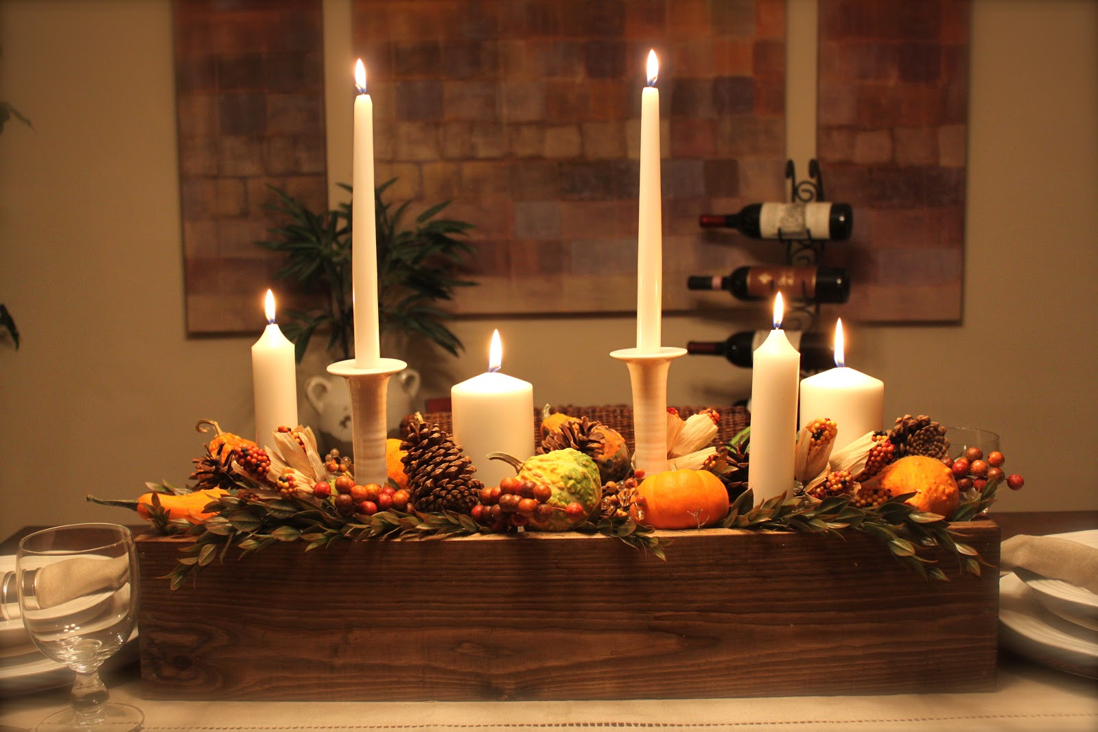 Candles Thanksgiving Table Decorating Ideas