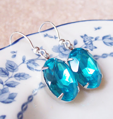 image two cheeky monkeys sterling silver and vintage glass jewel earrings glam it up aquamarine blue turquoise dangly hollywood estate style