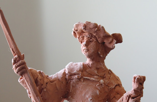 page, sculpture, art, red, terracotta, earthenware, escultura, arte, kunst, boy, study, small, detail, youth, ceramic, ceramica, hands, face, keramik, sketch, clay, sarah, myers, profile, side, close-up
