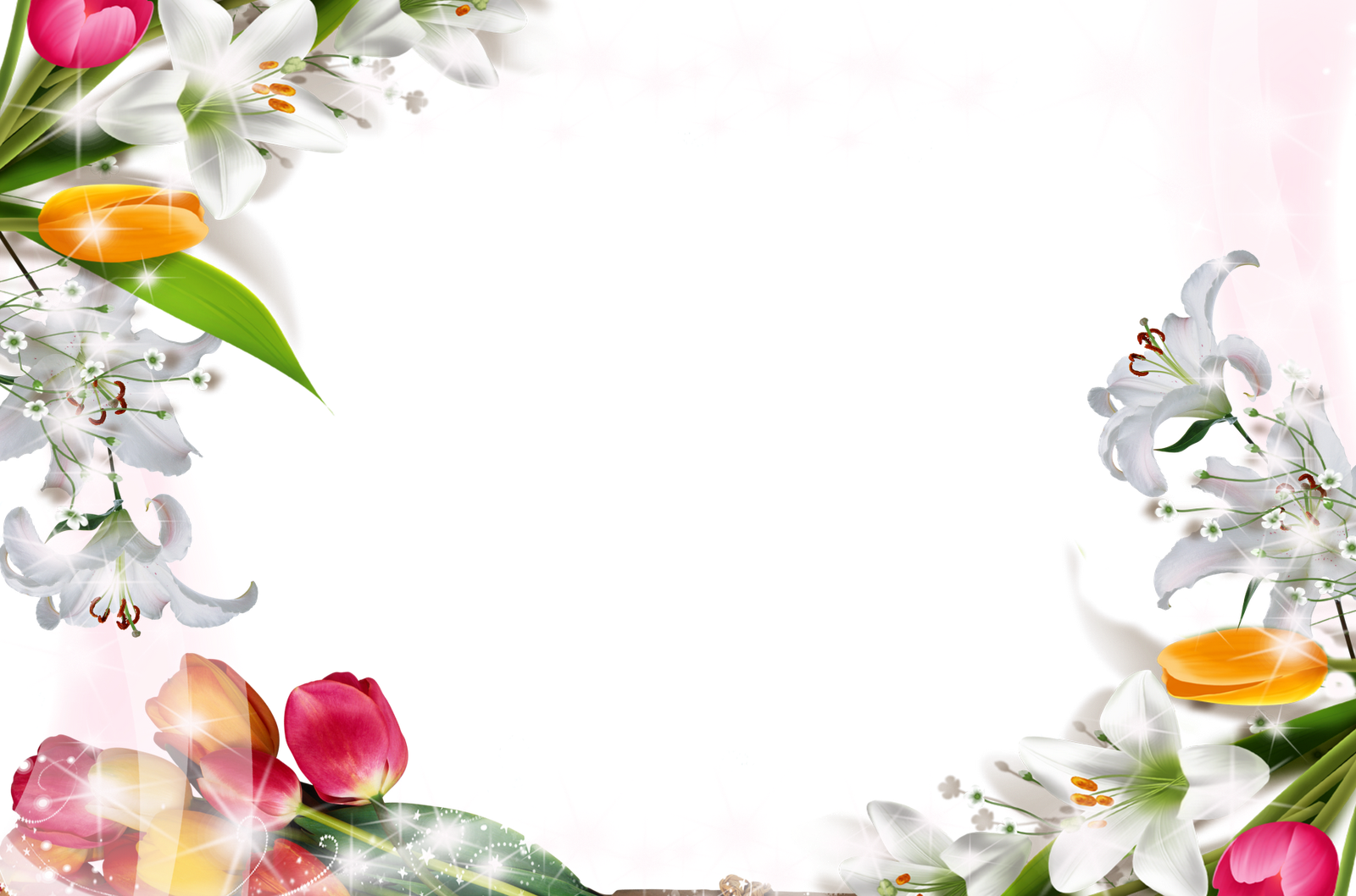 Transparent Frame with Flowers