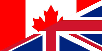 Canada and UK British flags