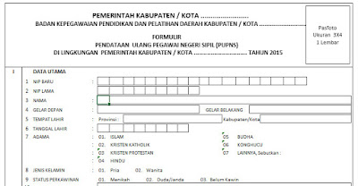 Formulir e-PUPNS TAHUN 2015 EXCEL